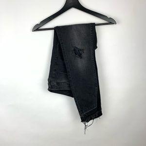 Zara Basic Distress Fringe raw hem destroyed black